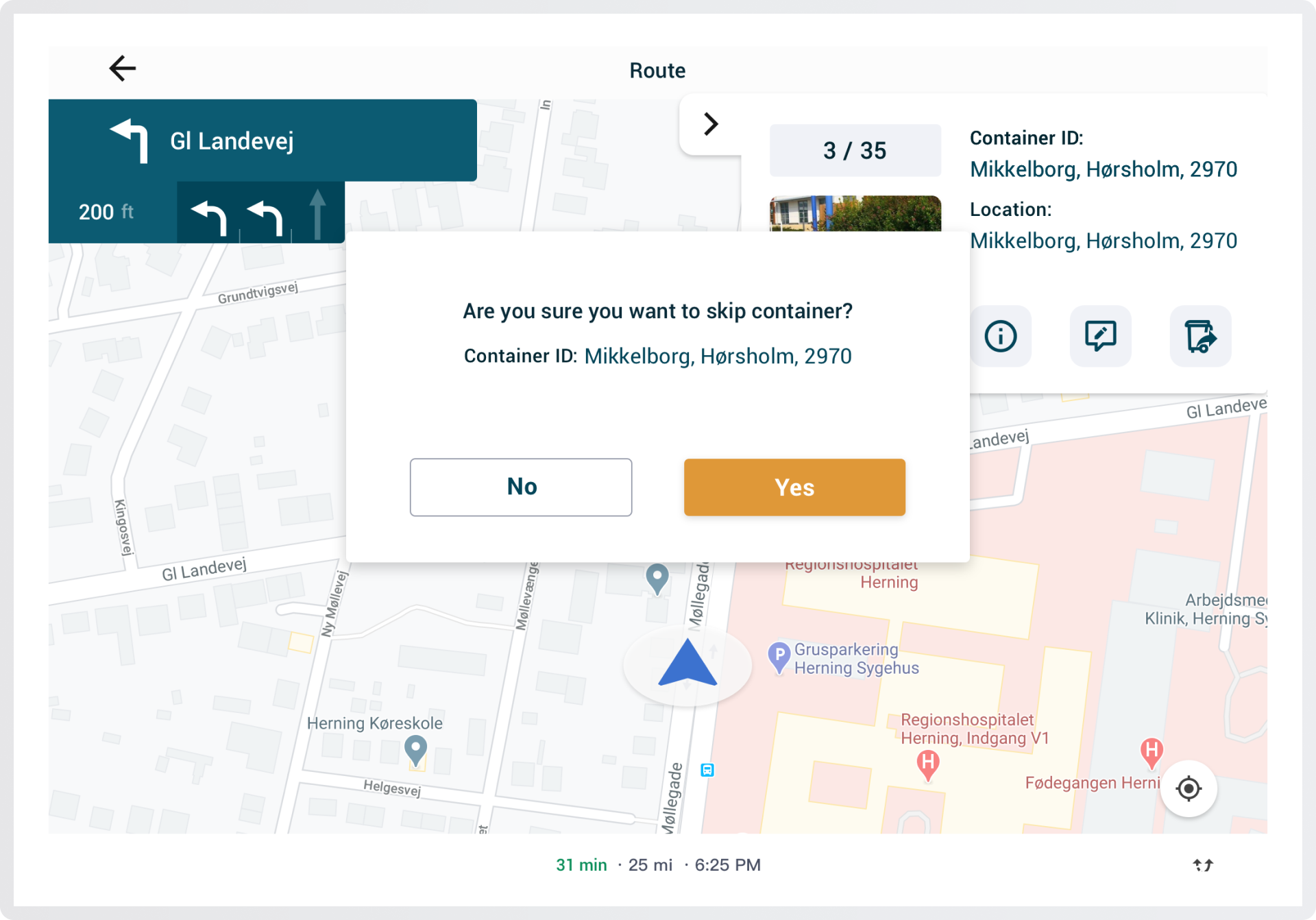 Customize the route with WasteHero Navigation System